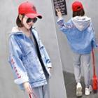 Mock Two-piece Hooded Zip-up Denim Jacket