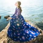 Star Print Maxi Chiffon Dress