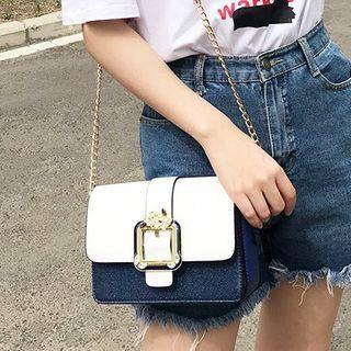 Color Block Rhinestone Chain Mini Crossbody Bag