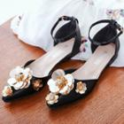 Floral Pointed Ankle Strap Flats
