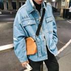 Chinese Character Buttoned Denim Jacket