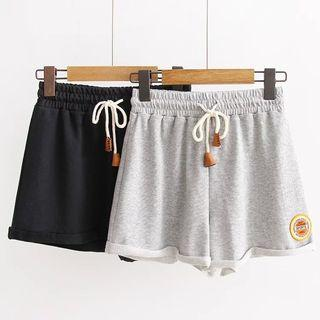 Patch Embroidered Drawstring Shorts