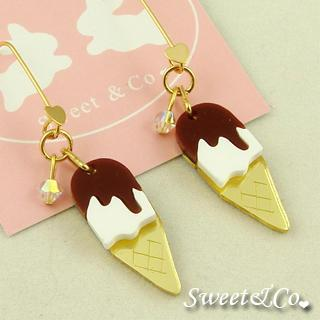 Chocolate Ice Cream Charm Crystal Gold Earrings