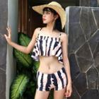 Set: Striped Ruffle Bikini + Beach Cover-up