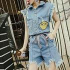 Smiley Face Embroidered Fray Hem Sleeveless Denim Playsuit