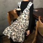Floral Print Midi Pinafore Dress