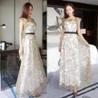 Sleeveless Printed Ruffled Midi Dress