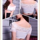 Lace Panel Short-sleeve Cropped Top