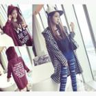 Lettering Plaid Hooded Long Jacket