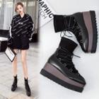 Square Toe Platform Short Boots