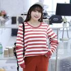 Cutout Striped Pullover