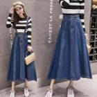 Midi A-line Suspender Denim Skirt