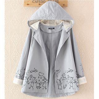 Cartoon Embroidered Hooded Jacket
