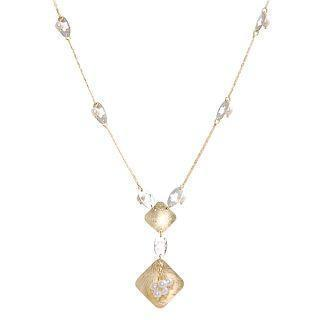 18k White & Yellow Gold Necklace With Pearls