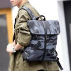 Faux Leather Camo Flap Backpack