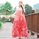 Print Maxi Chiffon Tank Dress