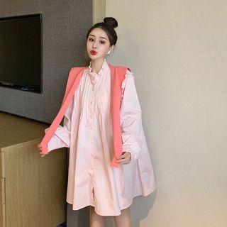 Frilled Long-sleeve Loose-fit Shirtdress / Plain Shawl