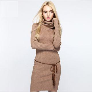 Funnel Neck Rib-knit Mini Dress