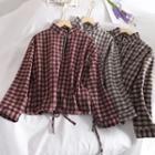 Plaid Half-zip Long-sleeve Blouse