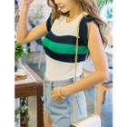 Frilled-sleeve Contrast-trim Knit Top