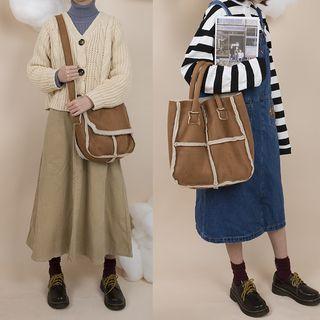Faux Shearling Trim Messenger Bag / Tote Bag