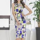 Sleeveless Patterned Cutout Mini Sheath Dress