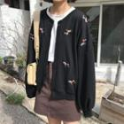 Dog Embroidered Button Jacket