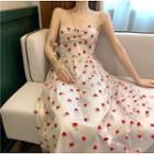 Printed Sleeveless Mesh Midi Dress