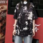 Couple Matching Tie Dye Short-sleeve T-shirt As Shown In Figure - One Size