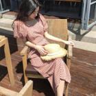 Gingham Short-sleeve Midi Sheath Dress