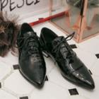 Pointy-toe Faux-leather Oxfords