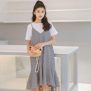 Gingham Strappy Pinafore Dress