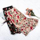 Floral A-line Midi Pleated Skirt