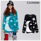 Patterned Furry Long Sweater