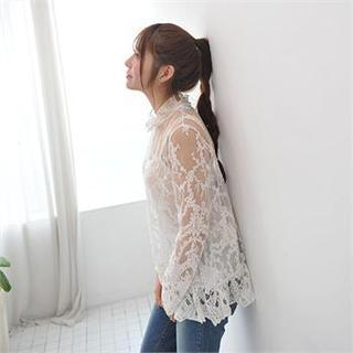Set: Long-sleeve Lace Top + Camisole