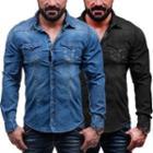 Leaf Printed Denim Shirt