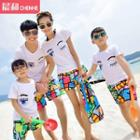 Family Eye Printed Short-sleeve T-shirt / Swim Shorts
