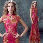 Sequined Embroidered Evening Gown