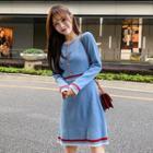 Long-sleeve Contrast Trim Knit A-line Dress