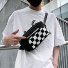 Checkerboard Panel Zip Sling Bag