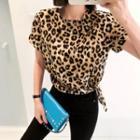 Tie-waist Leopard Blouse