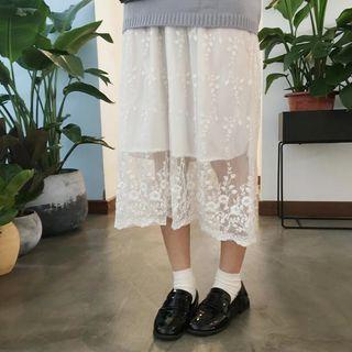 Lace Panel Midi Tank Dress White - One Size
