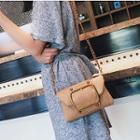 Wet-look Chain Strap Buckled Crossbody Bag