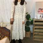 Long-sleeve Dotted Chiffon A-line Midi Dress