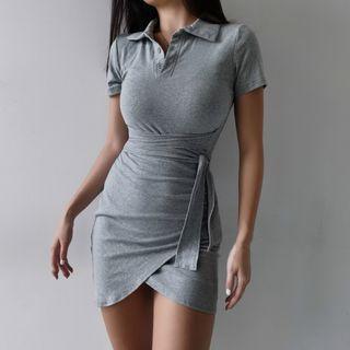 Plain Short-sleeve Slim-fit Dress - 2 Colors