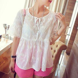 Embroidered Blouse White - One Size