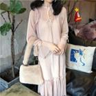 Set: Dotted Long-sleeve Chiffon Dress + Slipdress