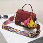 Pattern Strap Crossbody Bag With Tassels