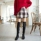 Tartan-plaid Wool Blend Miniskirt