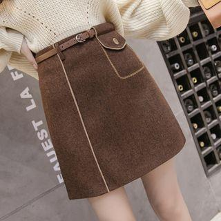 Mock Pocket A-line Skirt